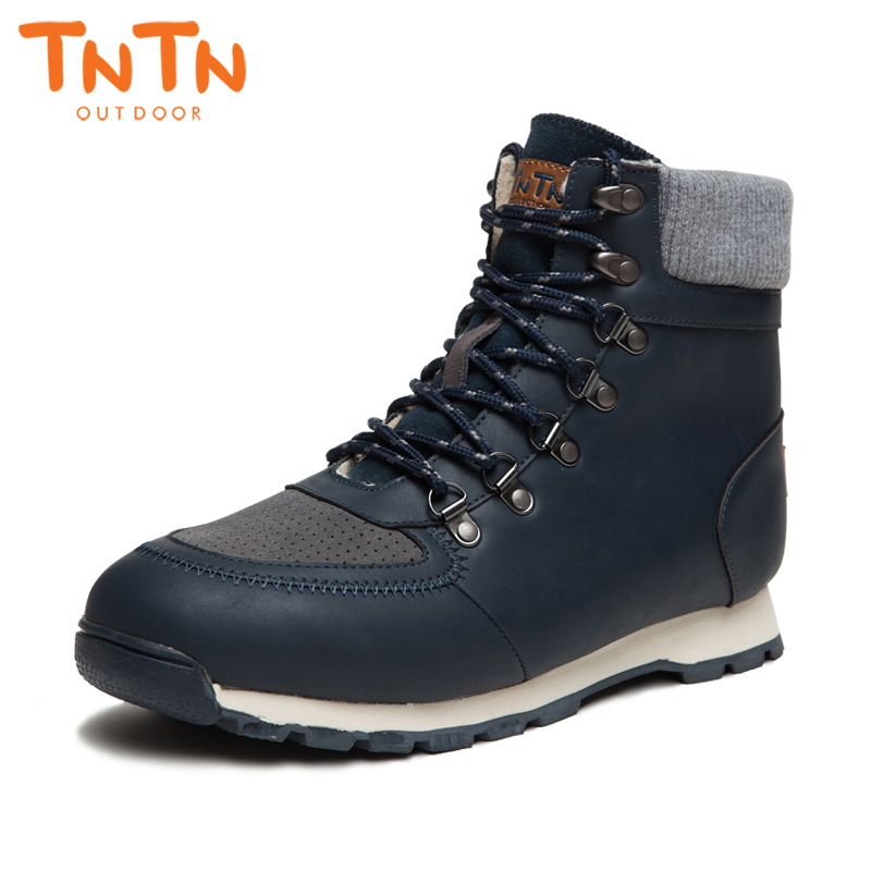 2018 TNTN Waterproof mens Outdoor Hiking Boots Fleece Snow Boots men Breathable Winter Shoes Walking Shoes For men Warm