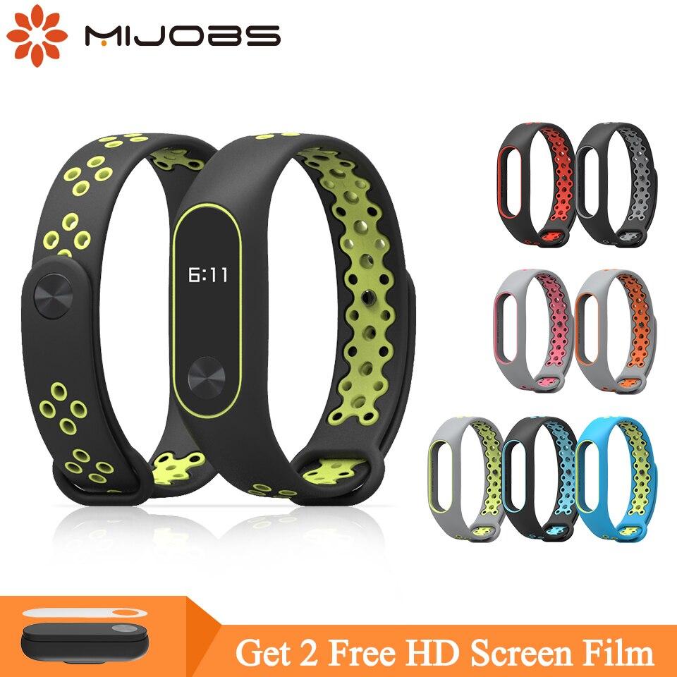 Mijobs Mi Band 2 Strap Bracelet Wrist Strap For Xiaomi Mi Band 2 Smart Watch Miband2 Accessories Smart Bracelet Sport Silicone