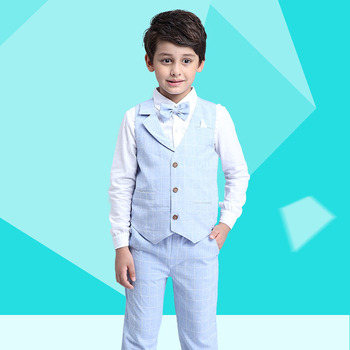 2017 Boys Blazer Suit Kids Cotton Vest+Tie+Blouse+Pants 4 pieces/set Clothes Sets Boys Formal Blazers for Weddings Party EB156