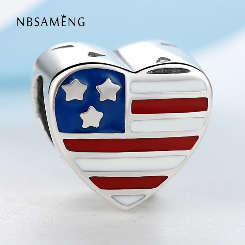 Authentic 925 Sterling Silver Bead Love Usa Flag Charms