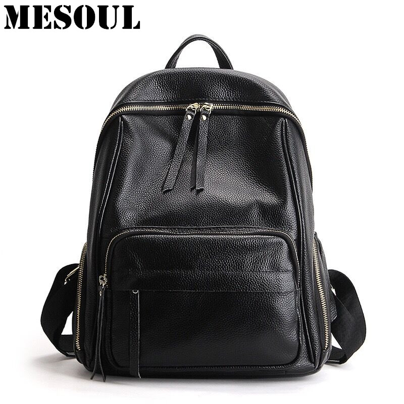Women Backpack Schoolbag Genuine Leather bags for teenagers 2017 New Summer Fashion Travel Back pack Designer Feminine backpack