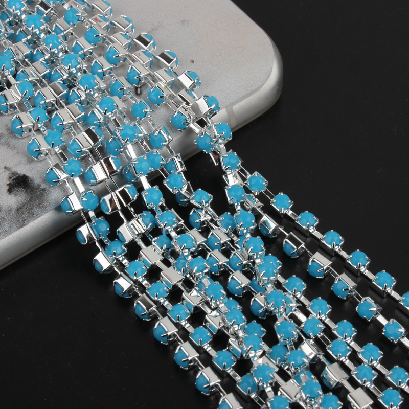 sky blue 10yards Crystal Acrylic chain with SS12(3mm) cup chain, silver base sparse Garment/shoes accessories Free shipping
