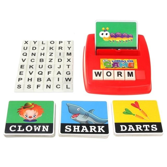 Máquina de aprendizaje de palabras en inglés tarjeta educativa máquina de letras inglés palabra interactiva foto Tarjeta de lectura niños Montessor