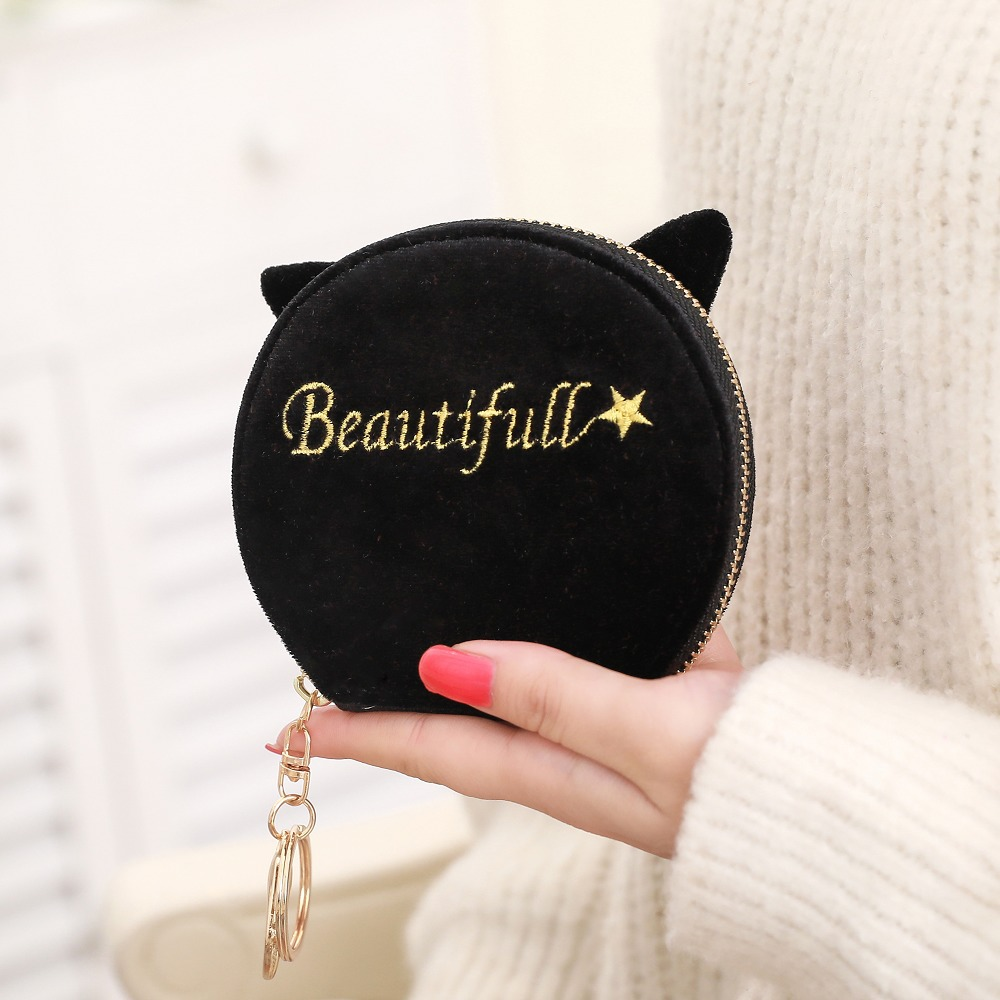 цена на Cute Cartoon semicircle coin purses women plush change purse woman wallet Ladies zipper little pouch Female mini money card bags