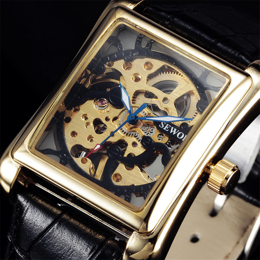 2016 Top Brand Sewor Luxury Men Mechanical Watches Rectangle Skeleton Dial Hand Wind Leather Strap Men's Fashion Wristwatches fashion men mechanical hand wind watches men skeleton stainless steel wristwatches for male luxury golden watch men