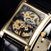 2016 Top Brand Sewor Luxury Men Mechanical Watches Rectangle Skeleton Dial Hand Wind Leather Strap Men