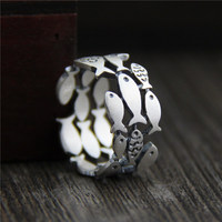 925 Sterling Silver Swimming Fish Ring 1