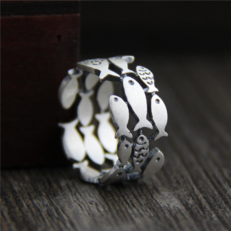 Three Rows Hollow Swimming Fish Ring Animal Guaranteed 925 Sterling Silver Rings For Women Antique Matte Processing Fine Jewelry
