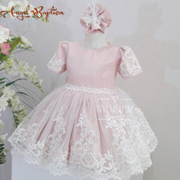 Short Knee Length Blush Pink Flower Girl Dress With Lace Appliques And Short Sleeves Baby Birthday