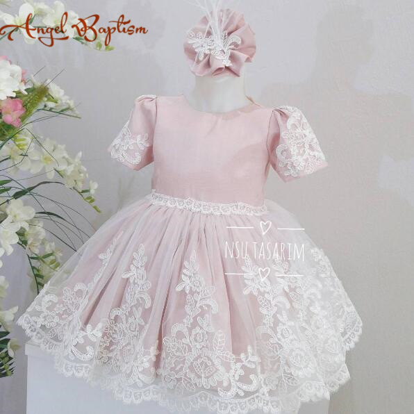 Short knee-length blush pink flower girl dress with lace appliques and short sleeves baby birthday party prom dresses for toddle backless lace short cocktail dress with sleeves