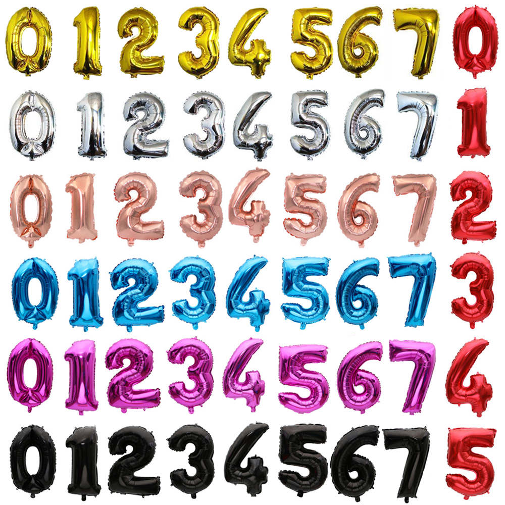 32-дюймовые цифры-шары, большие розовые, золотые, серебряные, черные фольгированные декоративные шары для вечевечерние