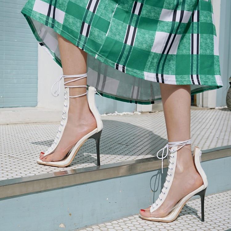 Gros Size11 12 13 14 15 16 17 talons hauts sandales femmes chaussures femme dames d'été en cristal Transparent dentelle fermeture à glissière talons hauts