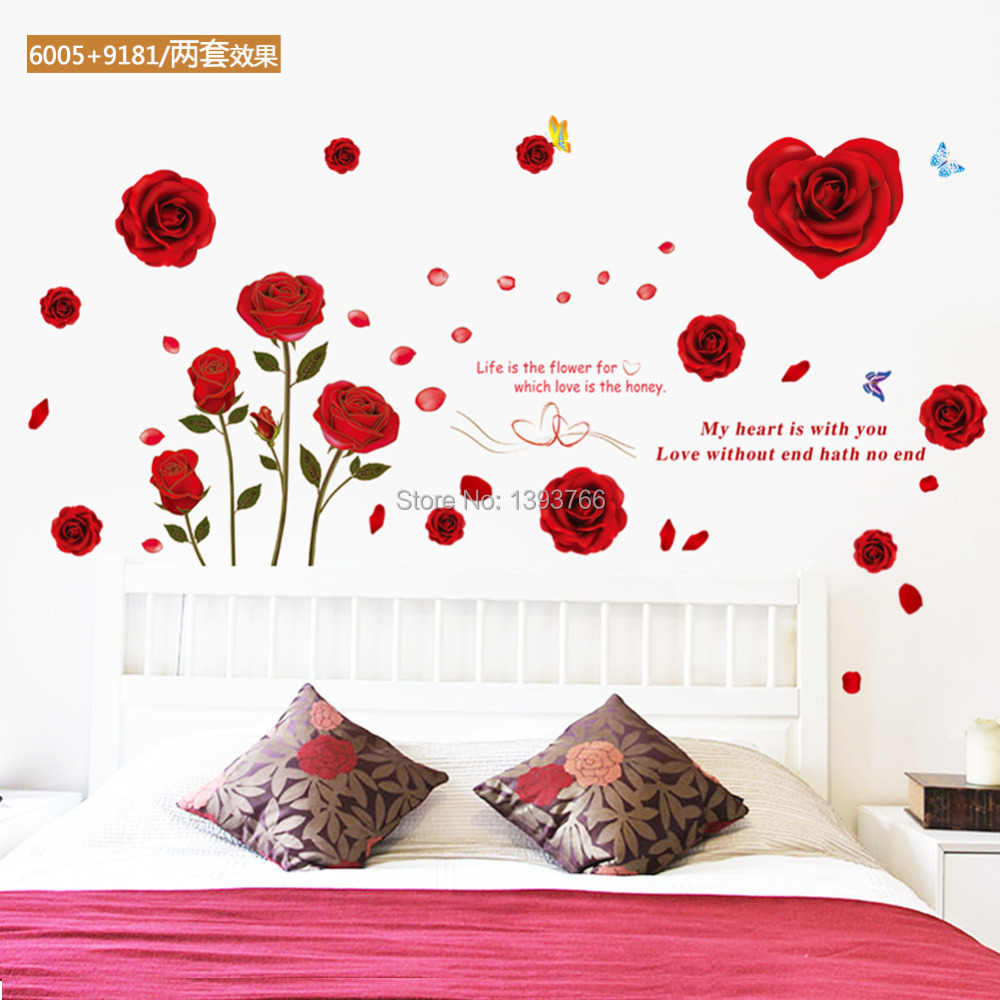 Rose wall stickers gallery home wall decoration ideas life is the flower for which love is the honey quote red rose life is the amipublicfo Gallery