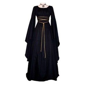 Женское винтажное платье до пола, готическое платье в средневековом стиле, длинное платье для косплея в стиле ретро, 2019