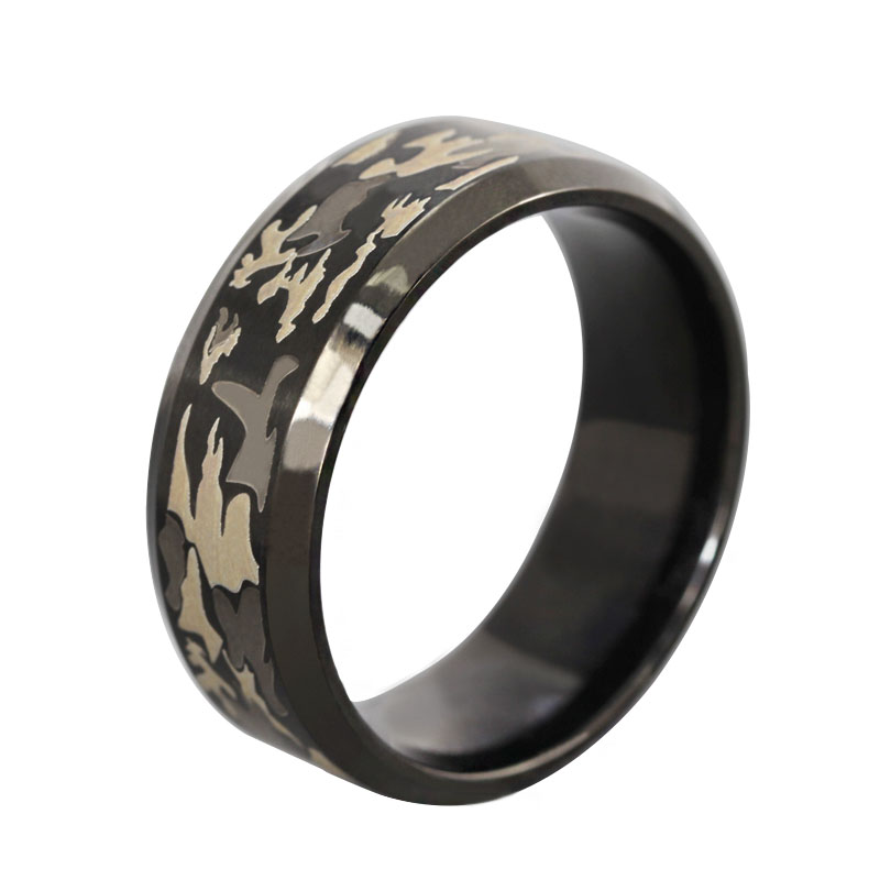 fathers day gift 8mm black men ring engraved military camouflage stainless steel rings for man - Cheap Camo Wedding Rings