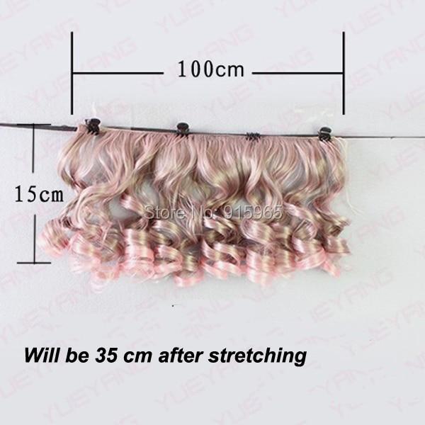 5 or 7 pieces/lot wholesales 15cm*100CM curl brown falxen golden black wig hair for 1/3 1/4 BJD diy