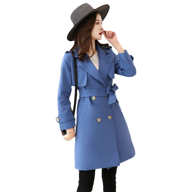 fashion Double-breasted Long   Trench   Coat female Large Size 5XL 2019 Spring Autumn Suit Slim Long Sleeve Women Windbreaker X486