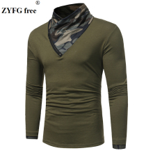ZYFG Free Mens spring T-shirt men Long Sleeve t shirts Turtleneck Cotton Polyester t-shirt Men Asian size Zipper decoration