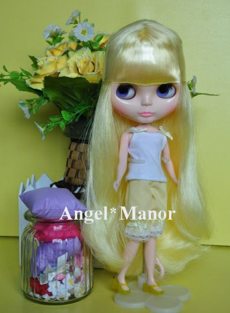 Nude Blyth Doll, yellow5  long hair, big eye doll,Fashion doll Suitable For DIY Change BJD , For Girl's Gift,PH005 free shipping nude blyth doll brown gold hair big eye doll fashion doll suitable for diy change bjd for girl s gift