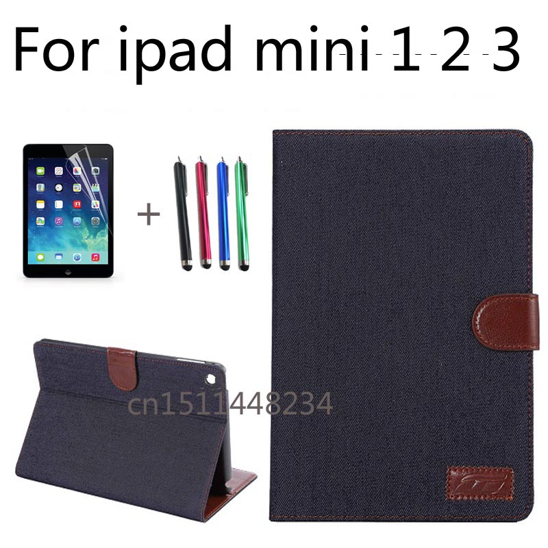 High quality business cowboy PU leather caseFor Apple iPad mini 1 2 3 case cover Autosleep, autowake,stand function,Black, blue uniq duo для apple ipad 2 black