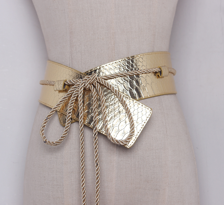 Women's Runway Fashion Patent PU Leather Cummerbunds Female Dress Corsets Waistband Belts Decoration Wide Belt R486