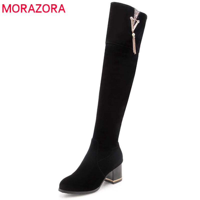 MORAZORA 2020 New Arrival Over The Knee Boots Women Solid Colors Winter Boots Round Toe Square Heels Long Boots Casual Shoes