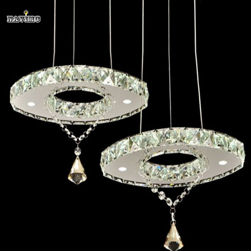 contemporary crystal led pendant lamp wire light stainless steel dining room bedroom cheap lamp light circular lamp cheap contemporary lighting