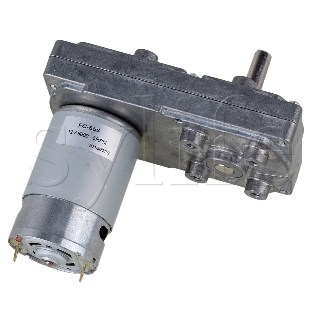 Electric High Torque Square Gearbox Geared Motor DC 12V 5RPM Silver Metal zndiy bry 16ga 120 dc 12v 120rpm geared motor silver
