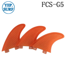 Surfing FCS Fins G5 Size Honeycomb Fibreglass Fin Orange color Surf Quilhas