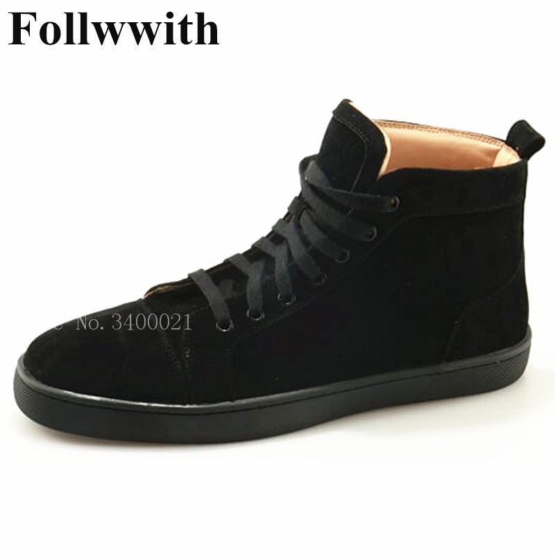 2018 Follwwith High Top Black Solid Suede Top Quality Lace Up Sneakers Men Casual Shoes Flats Zapatillas Deportivas Ankle Boots casual dancing sneakers hip hop shoes high top casual shoes men patent leather flat shoes zapatillas deportivas hombre 61