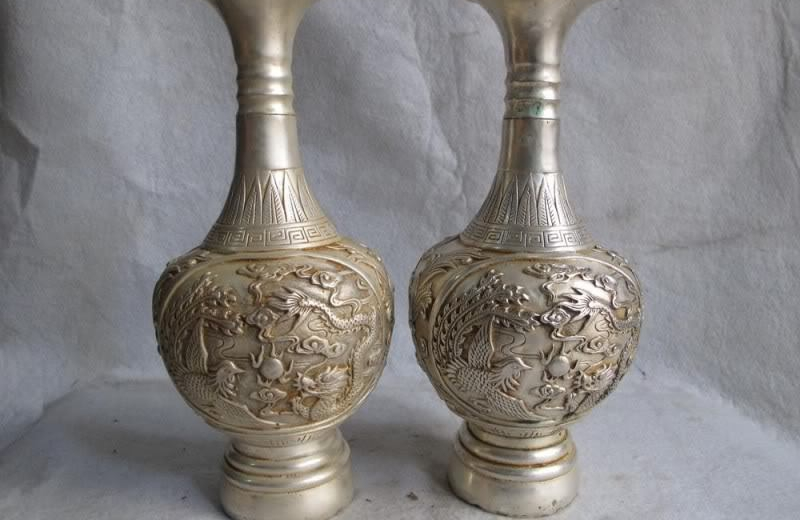9 Chinese White Copper Silver Royal Palace Dragon phoenix Play Bead Vase Pair9 Chinese White Copper Silver Royal Palace Dragon phoenix Play Bead Vase Pair