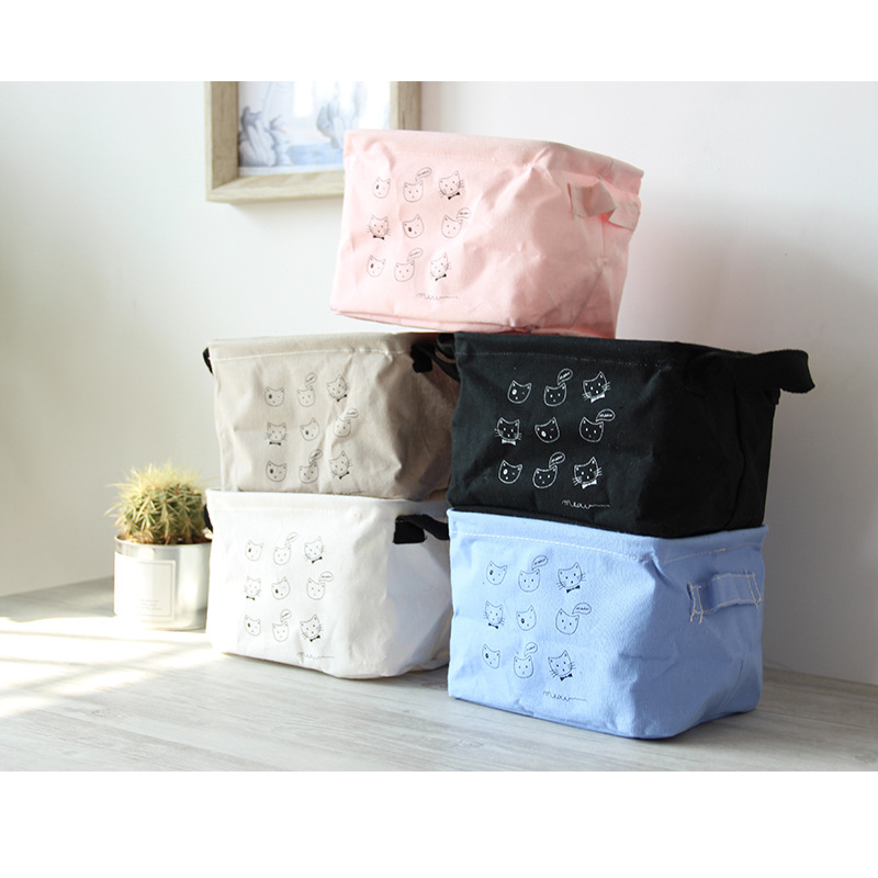 Cosmetic-Box Desktop-Storage-Box Fabric Expression Creative Korean Kitten Cartoon 5 5-Color