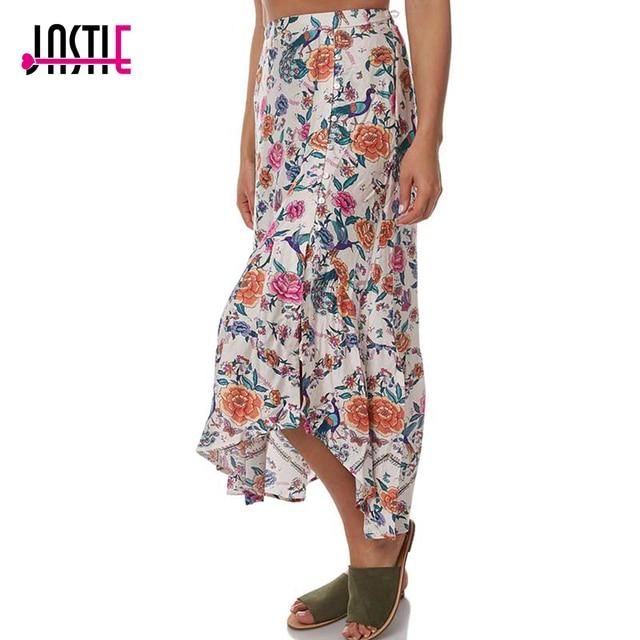 ac12bac652ed Jastie 2018 Summer Women Skirt Floral Print Arnhem Portofino Skirts Boho  Chic Frill Hem Beach Skirt