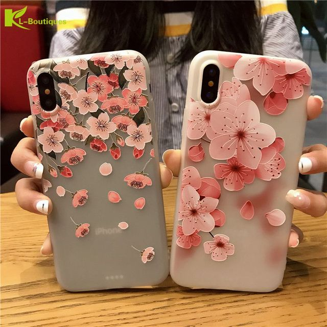 best sneakers 3b5b0 ae0b9 US $2.27 18% OFF|KL Boutiques 3D Relief Petal Silicone Case For iPhone 8 X  For Couqe iPhone8 8Plus Cherry Blossom Translucent Soft TPU Back Cover-in  ...