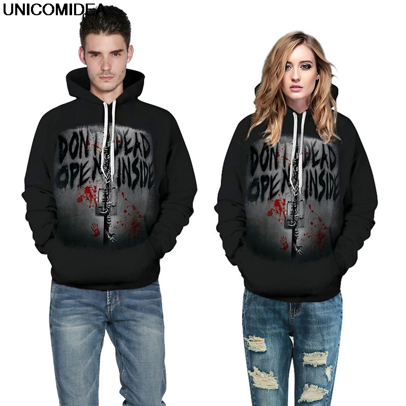 Hoodies & Sweatshirts Halloween Hoodies Sweatshirt Women Men Blood Handprint Letter Print Jacket Coat Crop Hoodie Jumper Tracksuit Pullover Sweatshirt