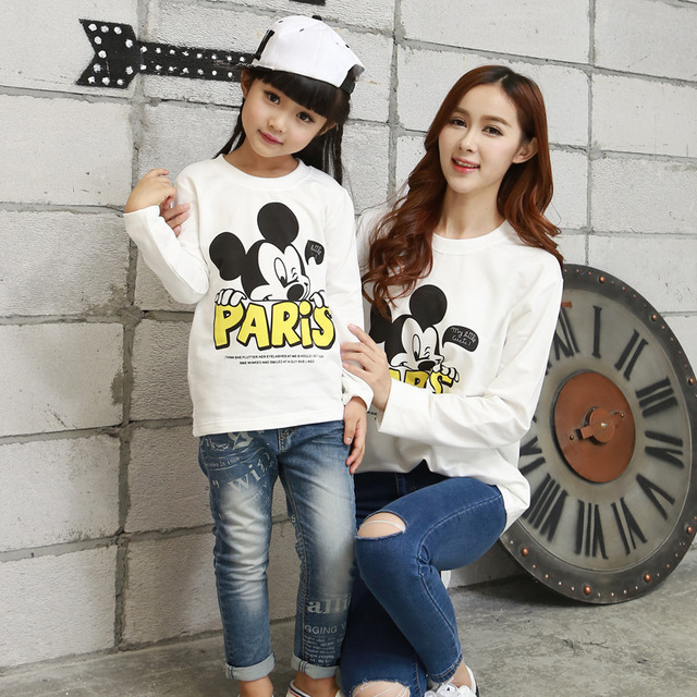 2016 South Korean autumn t-shirtmother daughter outfitscottonfamily lookfashionmommy and me clothesfull sleevecharacter