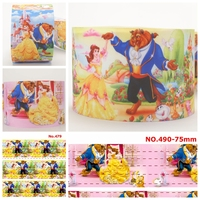 NEW sales 3 75mm princess beauty and beast pattern printed grosgrain ribbon free shipping