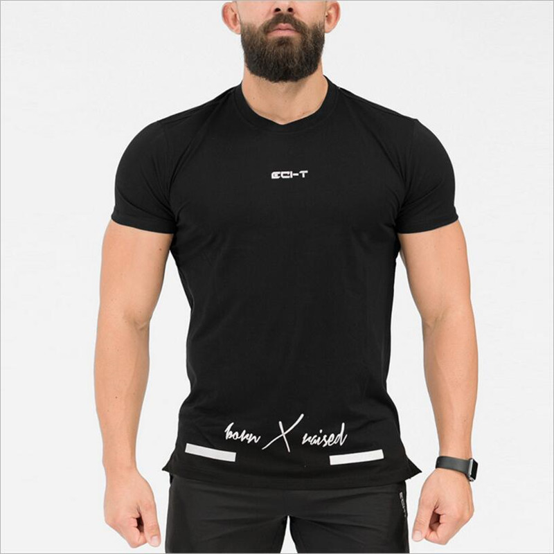 2018 New Fitness Printing Fashion Mens T-shirt Summer Body Clothing Tops Workout T-shirt M-XXL Tops