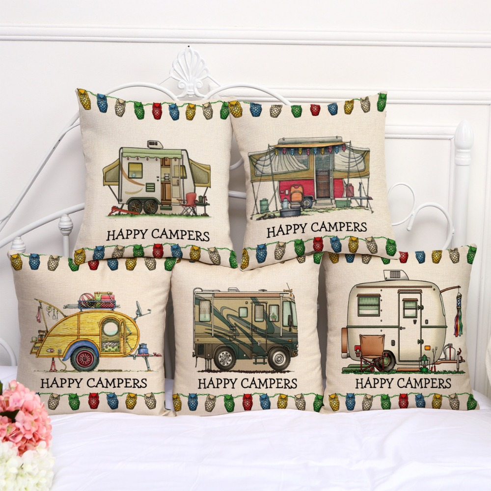 Decorative Pillow Case camping campers RV House Picnic Pillowcase ...