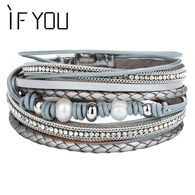 IF YOU Vintage Imitation Pearl Leather Bracelet For Women Charm Multiple Layers