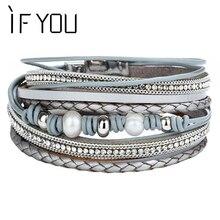 Si usted Vintage cristal imitación perla pulsera de cuero para mujeres encanto múltiples capas trenzadas pulseras joyería de moda 2019