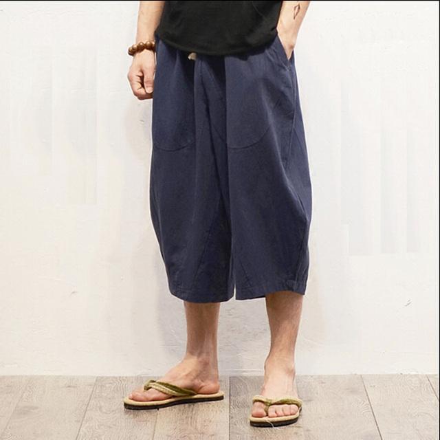 Nuevo Diseño Original de Lino Ocasionales Masculinos de Verano Haren Pantalones Flojos Holgados Pantalones de Media Pierna Ancha Pantalones de Lino de Algodón