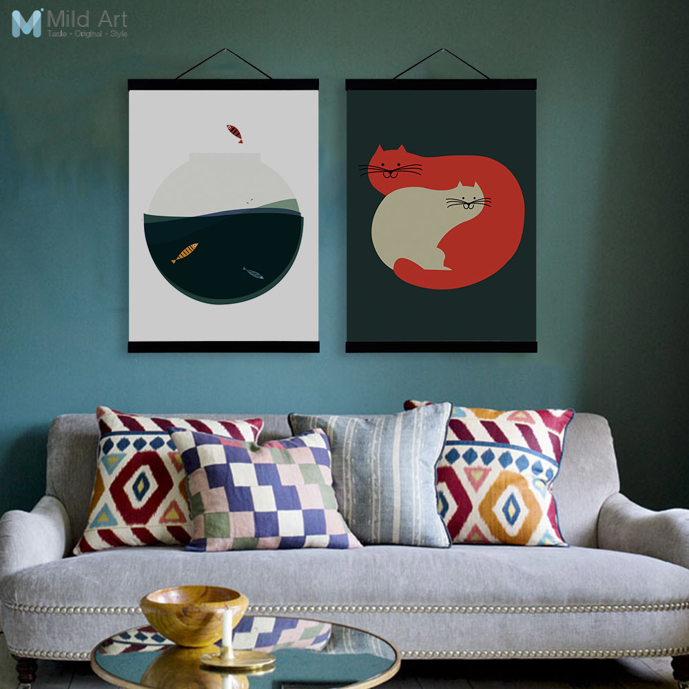 Modern Painting Canvas Basketball Wall Pictures Home Decor: Modern Abstract Kawaii Animals Vintage Cat Fish Wooden