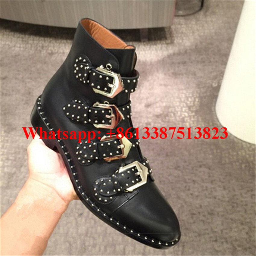 Botas Mujer Sexy Black Leather Multi Belt Buckle Studded Embellished Ankle Boots Flat Fall Boots Women Street Style Shoes Woman