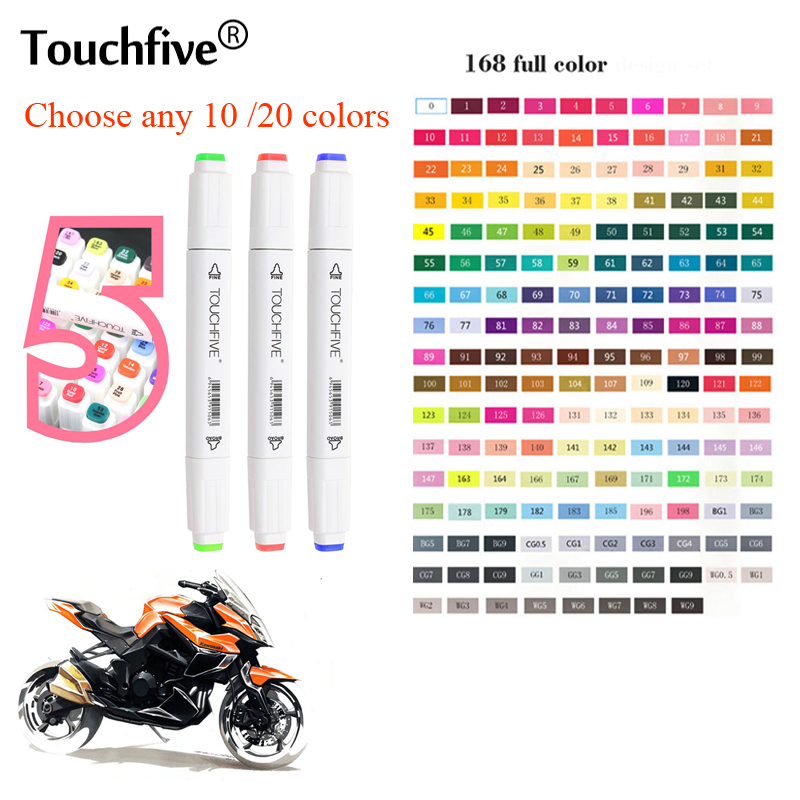 TouchFIVE 30/40/60/80/168 Colors Pen Art Markers Set Dual Head Sketch Markers Pen For Drawing Manga Markers Design Art Supplies sta alcohol sketch markers 60 colors basic set dual head marker pen for drawing manga design art supplies