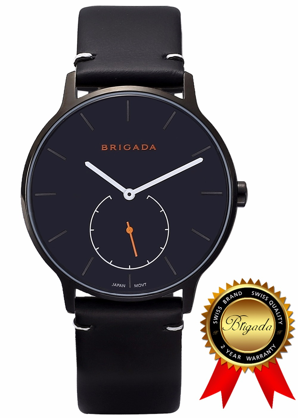 BRIGADA Cool Black Swiss Watches for Men, Nice Fashion Leather Band Quartz Men's Watch, Great Gift for Someone or Yourself fashion cool punk rock design men quartz wooden watch modern black genuine leather watchband unique wood watches gift for male