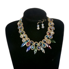 HOT Fashion Wedding Rhinestone Jewelry Set Colorful Glass Beads Statement Necklace Earrings For Women Party Decors