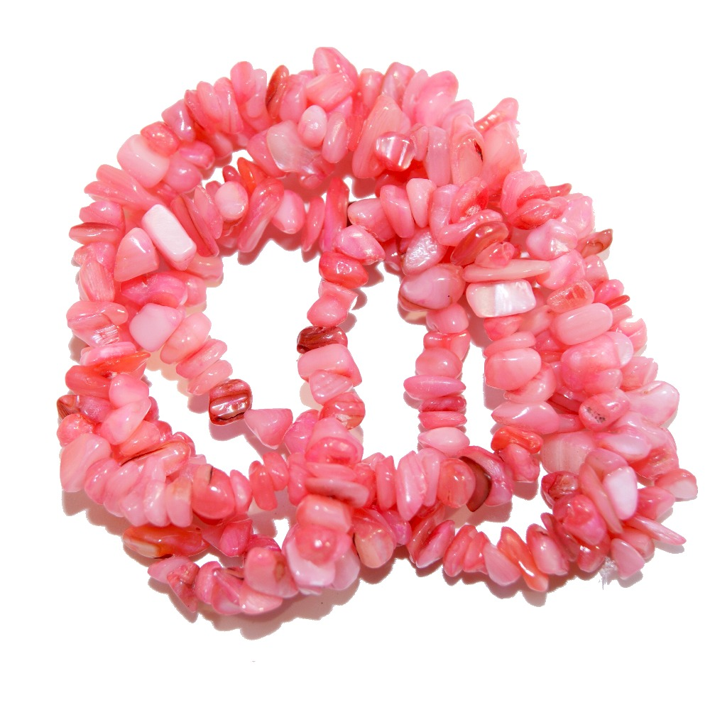 Engros Gravel Form Dye Pink Natural Coral 5-8 mm Stone Perler For Smykker Making DIY Armbånd Halskæde Strand 34 ''