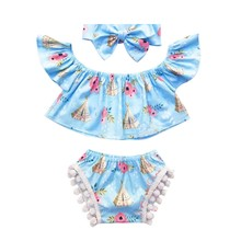 2018 Blue Newborn Baby Girls Sleeveless Tops+ Shorts Pants O-Neck Short Headband 3PCS Outfits Clothes Sep22(China)