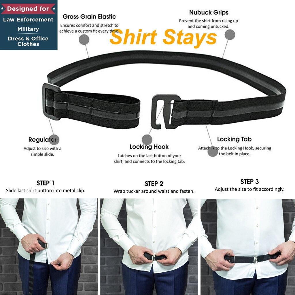2019 Fashion Shirt Holder Adjustable Near Shirt Stay Best Tuck It Belt for Women Men Work Interview Black 120cm Shirt slip belt